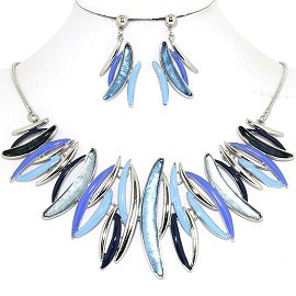 Necklace Earring Set Curve Lines Turquoise Blue Black FNE1248