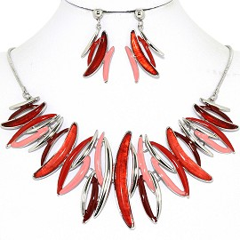 Necklace Earring Set Curve Lines Red Pink FNE1249