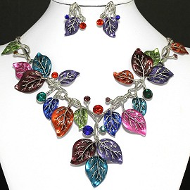 Necklace Earrings Set Leaf Silver Multi Color FNE125