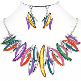 Necklace Earring Set Curve Lines Multi Color Gold Teal FNE1250