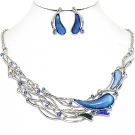 Necklace Earring Set Long Oval Tear Silver Blue FNE1256
