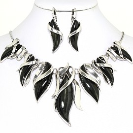 Curve Point Leaves Necklace Earring Set Silver Black FNE1258