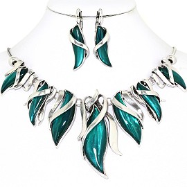 Curve Point Leaves Necklace Earring Set Silver Teal FNE1259