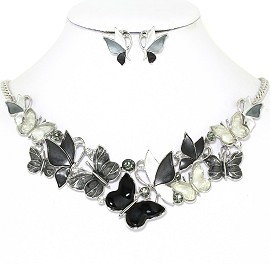 Butterfly Rhinestone Necklace Earring Set Silver Gray FNE1269
