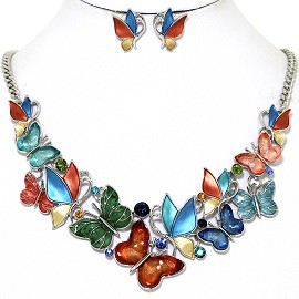 Butterfly Rhinestone Necklace Earring Set Multi Color FNE1270
