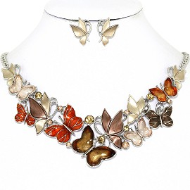 Butterfly Rhinestone Necklace Earring Set Silver Brown FNE1272