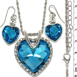 Necklace Earring Set Chain Heart Crystal Gem Silver Turq FNE1280