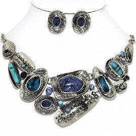Necklace Earrings Set Unique Shapes Gem Teal Silver Tone FNE1291