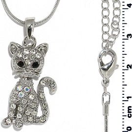 Chain Necklace Rhinestone Cat Sit Pendant Silver Tone FNE1318