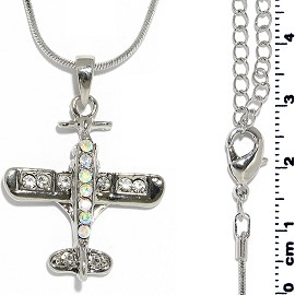 Chain Necklace Rhinestone Airplane Pendant Silver Tone FNE1320