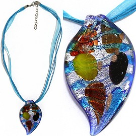 "Necklace Glass Pendant Leaf 18"" Ribbon Cord Turquoise FNE1327"
