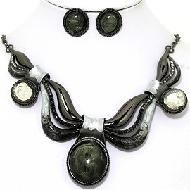 Necklace Earring Set Acrylic Gem Gray Dark Green FNE1339