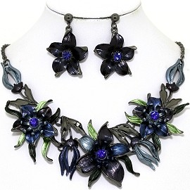 Necklace Earring Set Flowers Gray Blue FNE1342