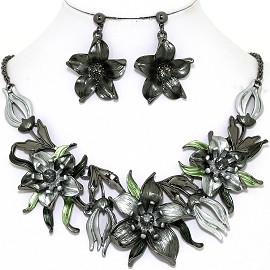 Necklace Earring Set Flowers Gray Silver FNE1344