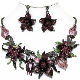 Necklace Earring Set Flowers Gray Purple FNE1346