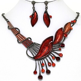 Necklace Earring Set Side Long Leaf Gray Red FNE1347