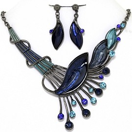 Necklace Earring Set Side Long Leaf Gray Blue FNE1350