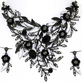 Necklace Earring Set Rhinestones Leaves Gray Black FNE1351