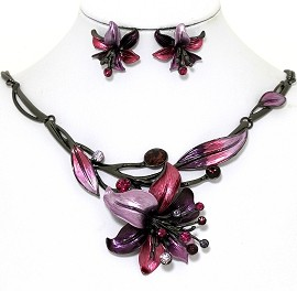 Necklace Earring Set Rhinestone Flower Gray Magenta Pink FNE1355