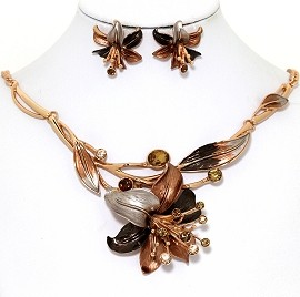 Necklace Earring Set Rhinestone Flower Antique Gold FNE1358