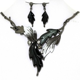 Necklace Earring Set Pointy Leaves Gray Black FNE1365