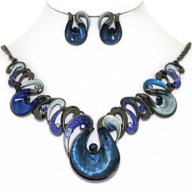 Necklace Earring Set Oval Round Tear Gray Blue FNE1372