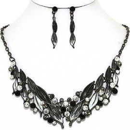 Necklace Earring Set Rhinestone Leaf Line Gray Black FNE1376