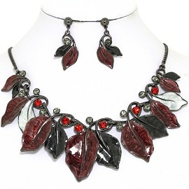 Necklace Earring Set Leaf Leaves Gray Black Dark Red FNE1386