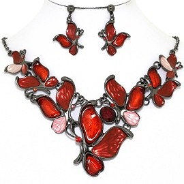 Necklace Earring Set Butterfly Gray Red FNE1389