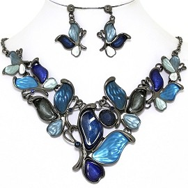 Necklace Earring Set Butterfly Gray Blue FNE1390