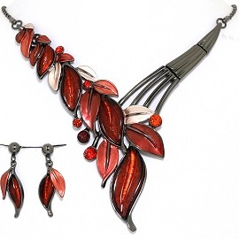 Necklace Earring Set Vine Leaf Leaves Gray Red FNE1393