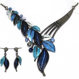 Necklace Earring Set Vine Leaf Leaves Gray Blue FNE1394
