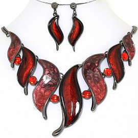 Necklace Earring Set Line Leaf Red Rhinestone FNE1398