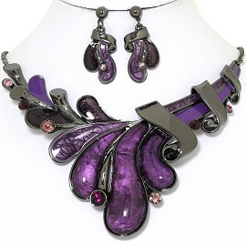 "20"" Necklace Earrings Set Oval Rhinestone Gray Purple FNE1399"