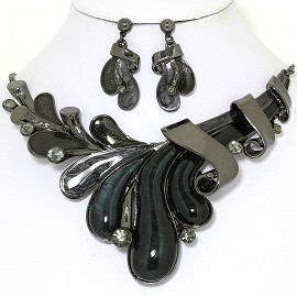 "20"" Necklace Earrings Set Oval Rhinestone Gray Black FNE1400"