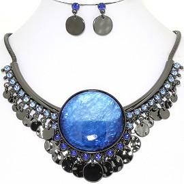 Necklace Earring Set Round Circle Gray Blue FNE1403