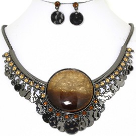 Necklace Earring Set Round Circle Gray Brown FNE1404