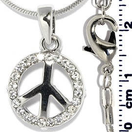 Rhinestone Pendant Chain Necklace Peace Sign Silver FNE1431