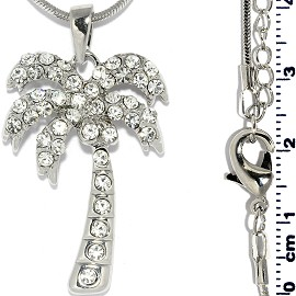 Rhinestone Pendant Chain Necklace Palm Tree Silver FNE1437