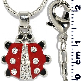 Rhinestone Pendant Chain Necklace Ladybug Red Silver FNE1445