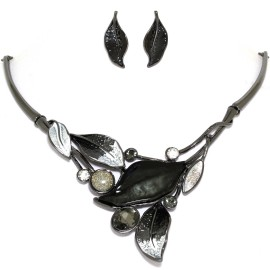 "16""-19"" Necklace Earrings Set Leaf Leaves Gem Black Gray FNE1447"