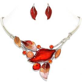 "16""-19"" Necklace Earrings Set Leaf Leaves Gem Red Orange FNE1453"