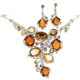 "18""-21"" Necklace Earrings Set Gem Flower Orange Tan Tone FNE1455"