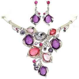"18""-21"" Necklace Earrings Set Gem Flower Purple Pink FNE1456"
