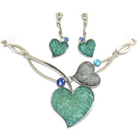 "16""-18"" Necklace Earrings Set Gem Hearts Turquoise FNE1460"