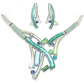 "16""-19"" Necklace Earrings Set Lines Gem Teal Silver Tone FNE1463"