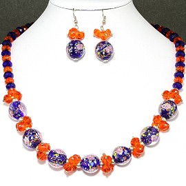 Crystal Glass Necklace Earring Orange Blue FNE163