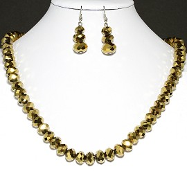 10mm Crystal Necklace Earrings Gold FNE191