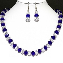 10mm Crystal Necklace Earrings Dark Blue Clear FNE194