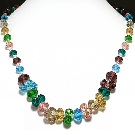 Crystal Necklace Multi Colored FNE196